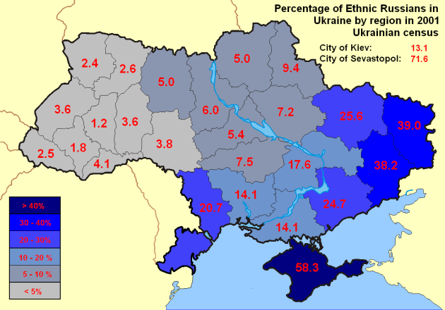 Percent Ethnic Russians in Ukraine Provinces