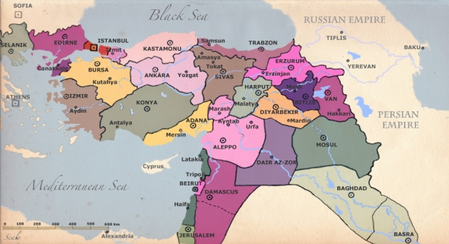 Ottoman Empire before its non-Anatolian provinces were split up after WW1 into modern nations.