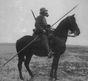 ww1 horse, cavalry, gas mask, lance