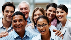 Group of diverse business colleagues enjoying success